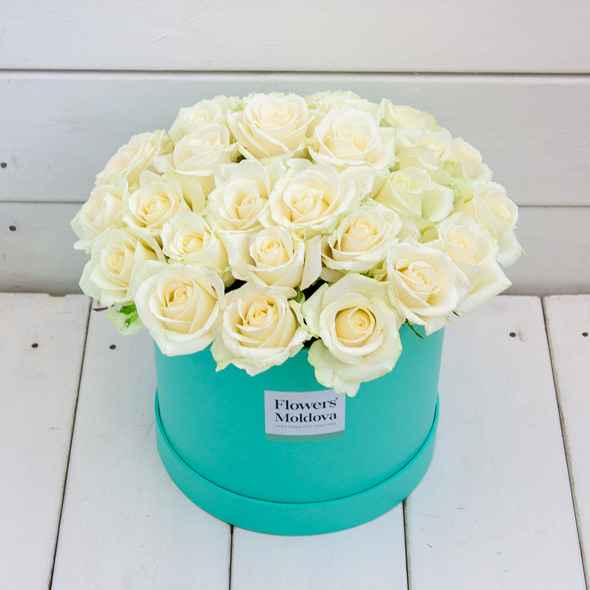 Mint Box White Roses