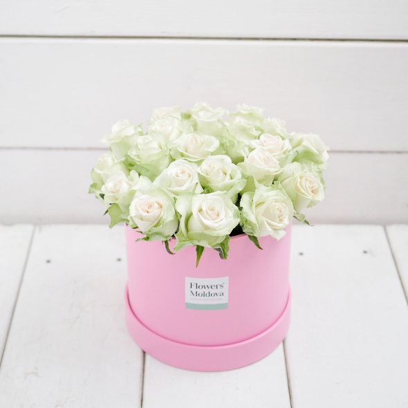 Flower Box White Roses